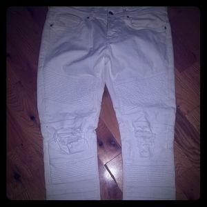 Zara Mens Biker Jean's in White
